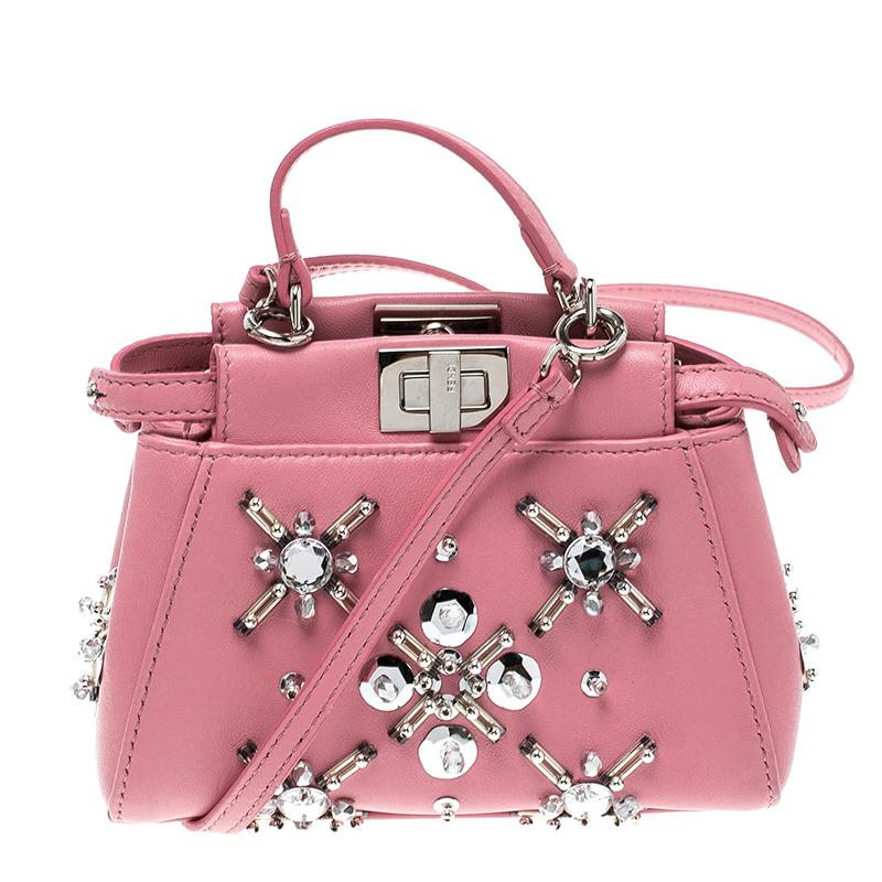 ... Fendi Pink Leather Micro Crystal Embellished Peekaboo Crossbody Bag.  nextprev. prevnext 46d3eaa631925