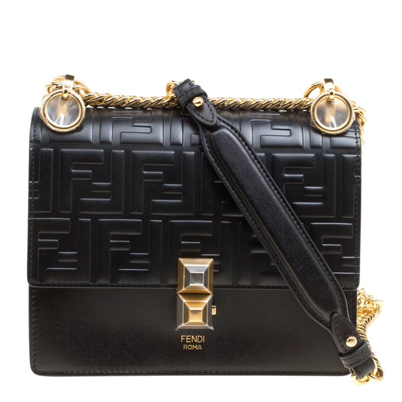 171296a1ed0f ... Fendi Black Leather Small Kan I Logo Embossed Shoulder Bag. nextprev.  prevnext
