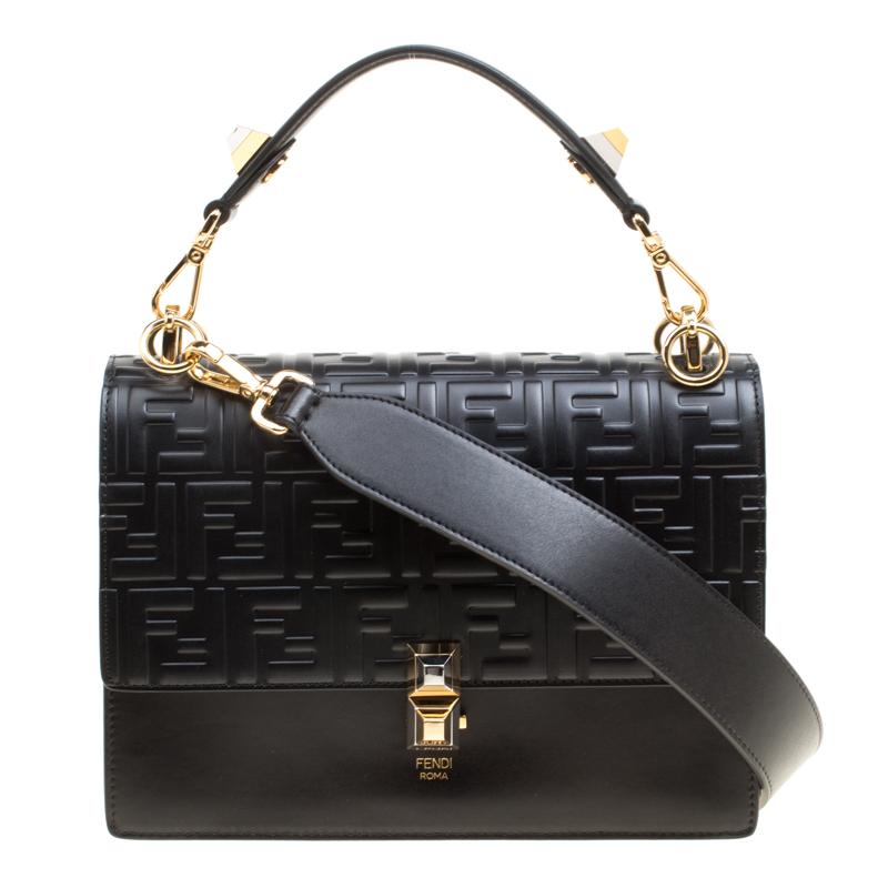 b8a9a05b19e ... Fendi Black Leather Kan I Logo Embossed Top Handle Shoulder Bag.  nextprev. prevnext
