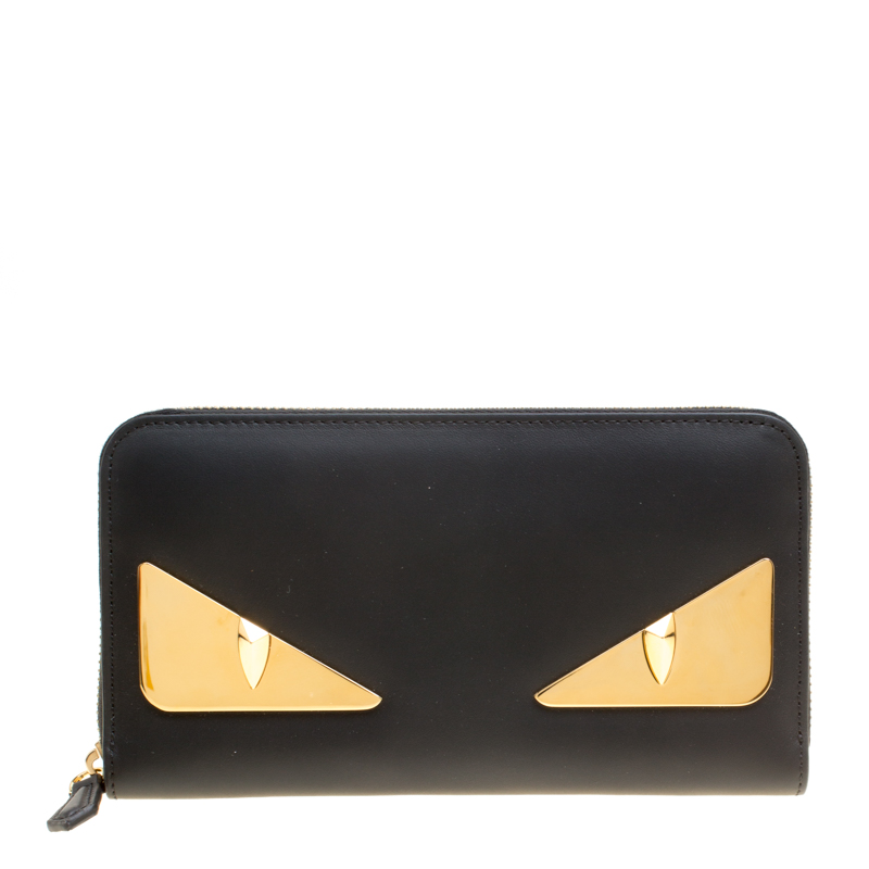 Buy Fendi Black Leather Metallic Monster Eyes Bugs Zip Around Wallet ...