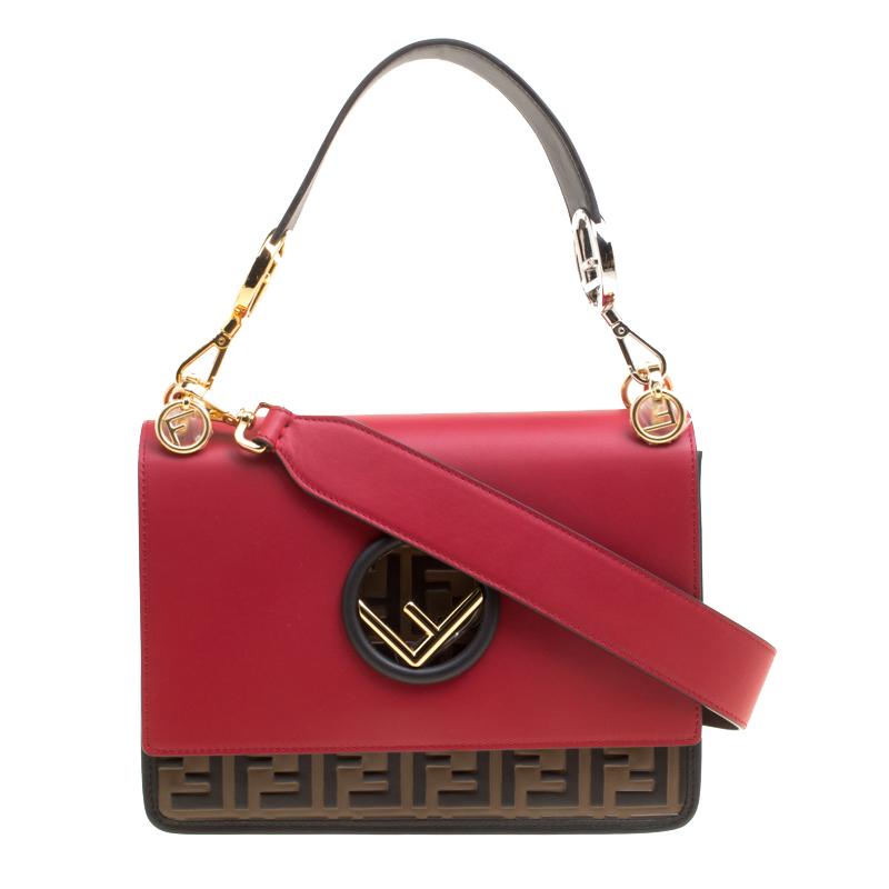 5551284b1ea Buy Fendi Red/Brown Leather Kan I Logo Embossed Top Handle Shoulder ...
