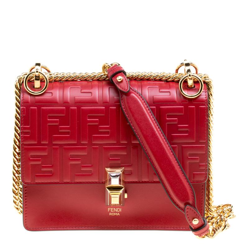 95681f79bab0 ... Fendi Red Leather Small Kan I Logo Embossed Shoulder Bag. nextprev.  prevnext
