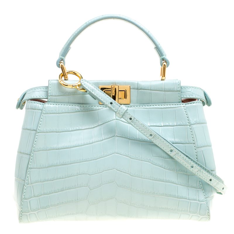 edf1a80d663e ... Fendi Mint Green Crocodile Mini Peekaboo Top Handle Bag. nextprev.  prevnext
