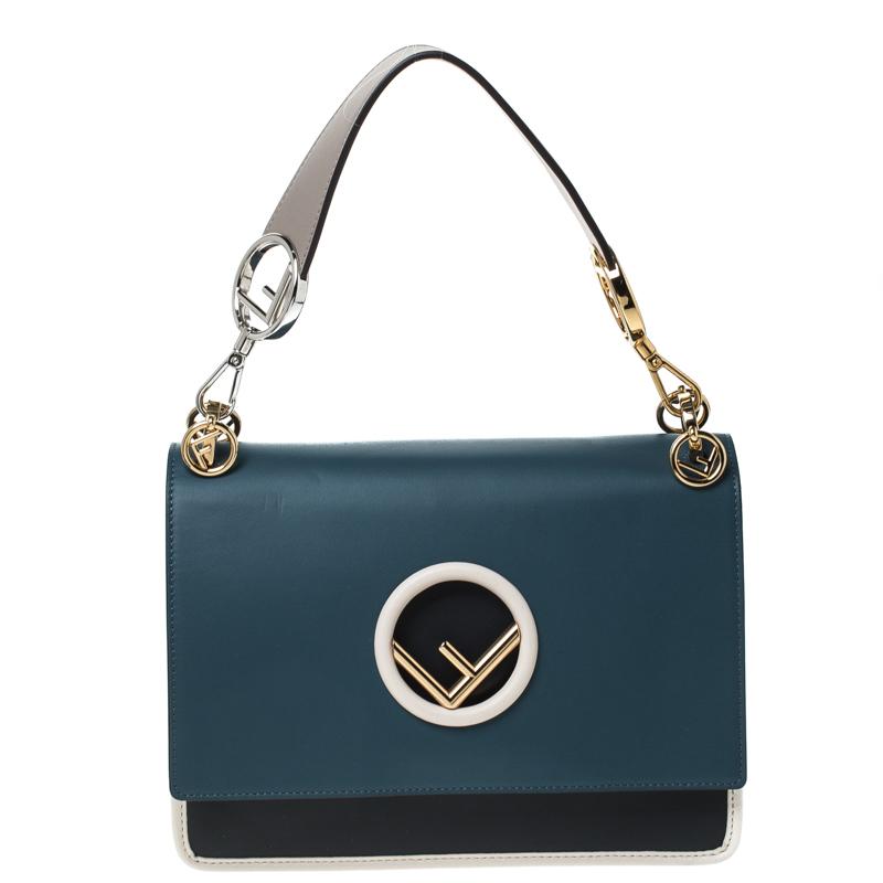 Fendi Tri Color Leather Kan I F Logo Shoulder Bag