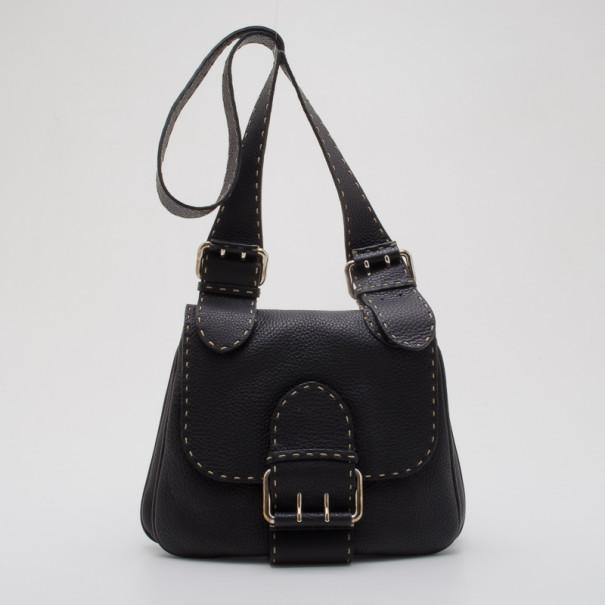 e766c24d49 Buy Fendi Black Leather Selleria Shoulder Bag 36688 at best price | TLC