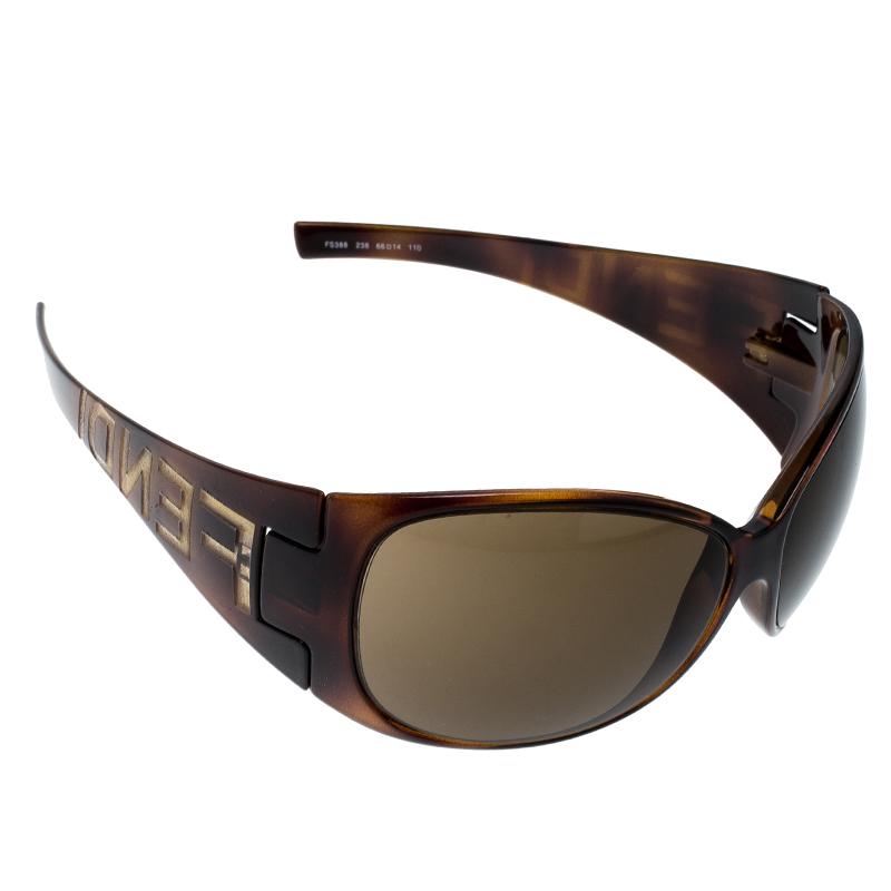 Fendi Tortoise Shell/Brown FS388 Shield Sunglasses