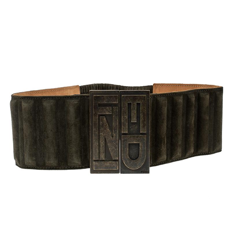 ec0c5d93 Fendi Olive Green Suede Wide Elastic Belt 65cm