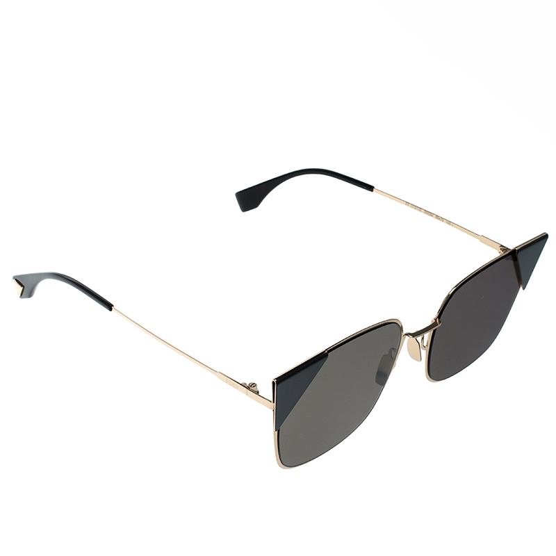 d97172058f59 Buy Fendi Gold Plated  Black FF0191 S Cat Eye Sunglasses 138627 at ...