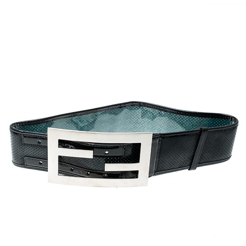 768b84bd Fendi Black Perforated Leather Wide Belt 70cm