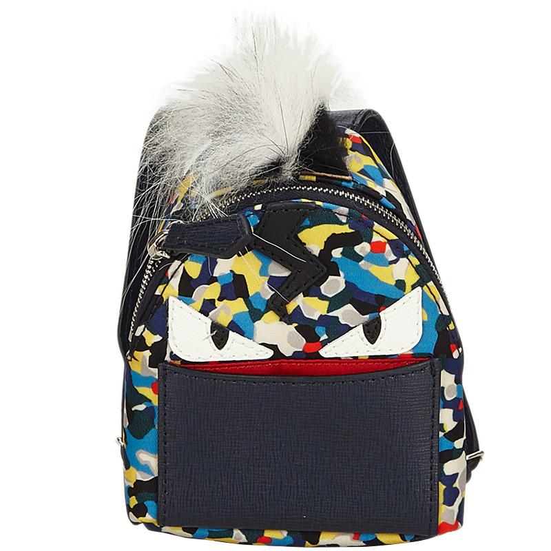 0d931c570f00 ... Fendi Multicolor Nylon Leather Eyes Fur Backpack Bag Charm. nextprev.  prevnext