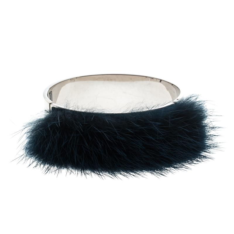 Fendi Blue Mink Fur Silver Tone Cuff Bracelet