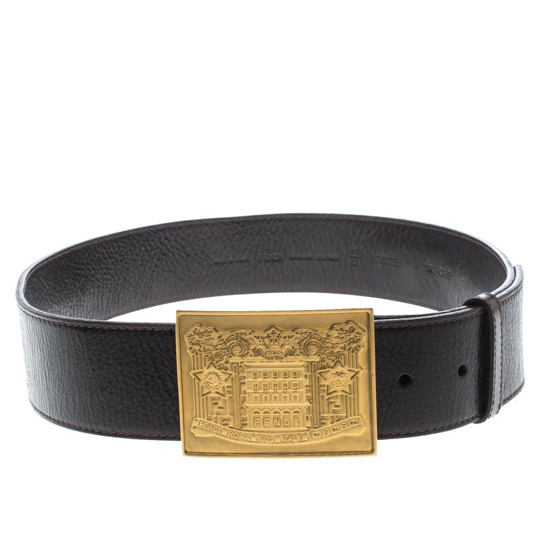 c31c1ceb80 Fendi Brown Leather Plaque Belt 80cm