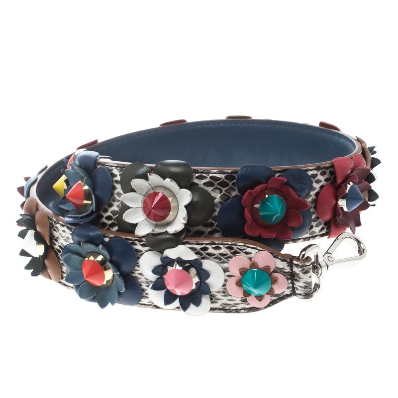 d53c473cff44 ... Fendi Multicolor Python and Leather Floral Applique Interchangeable Shoulder  Strap. nextprev. prevnext