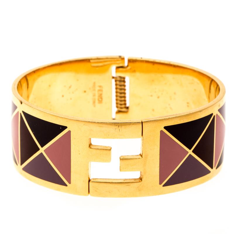 Fendi The Fendista Multicolor Geometric Enamel Gold Tone Wide Bracelet M