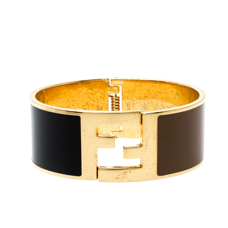 Fendi Fendista Black Brown Enamel Gold Tone Wide Bracelet M