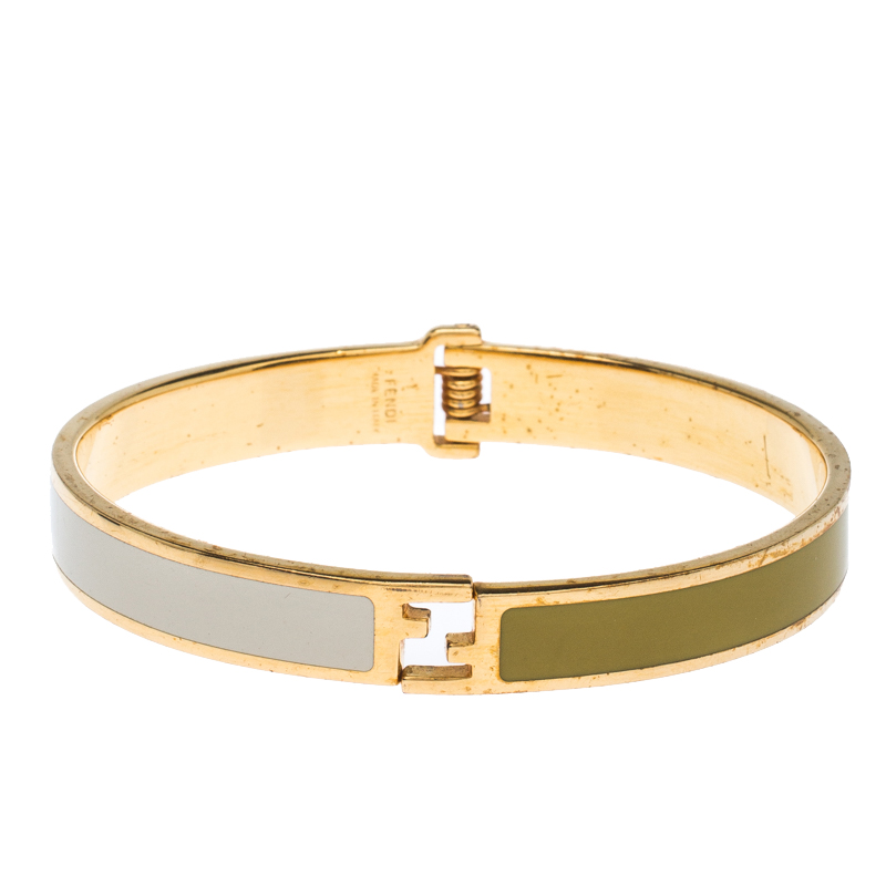Fendi The Fendista Green and White Enamel Gold Tone Bracelet L