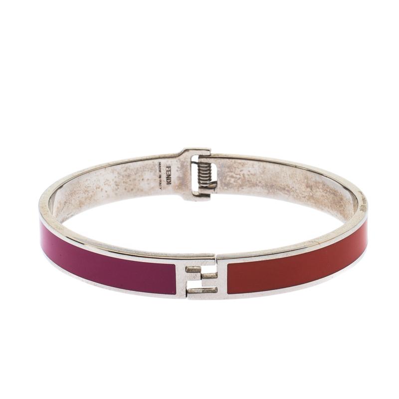 Fendi The Fendista Bicolor Enamel Silver Tone Bracelet M