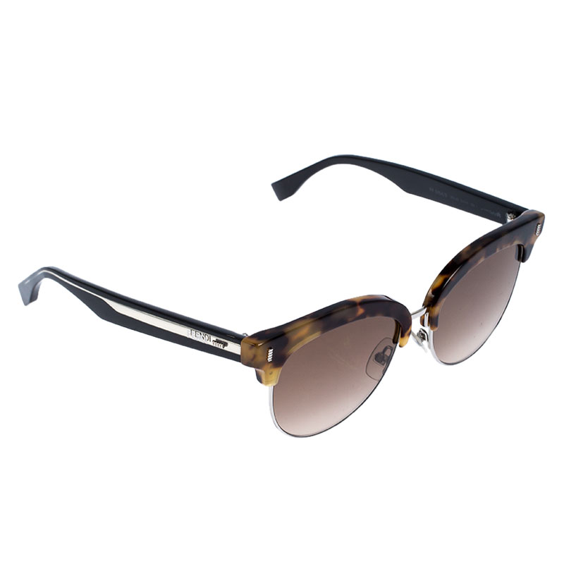 Fendi Brown Tortoise Gradient Clubmaster Half Rim Sunglasses