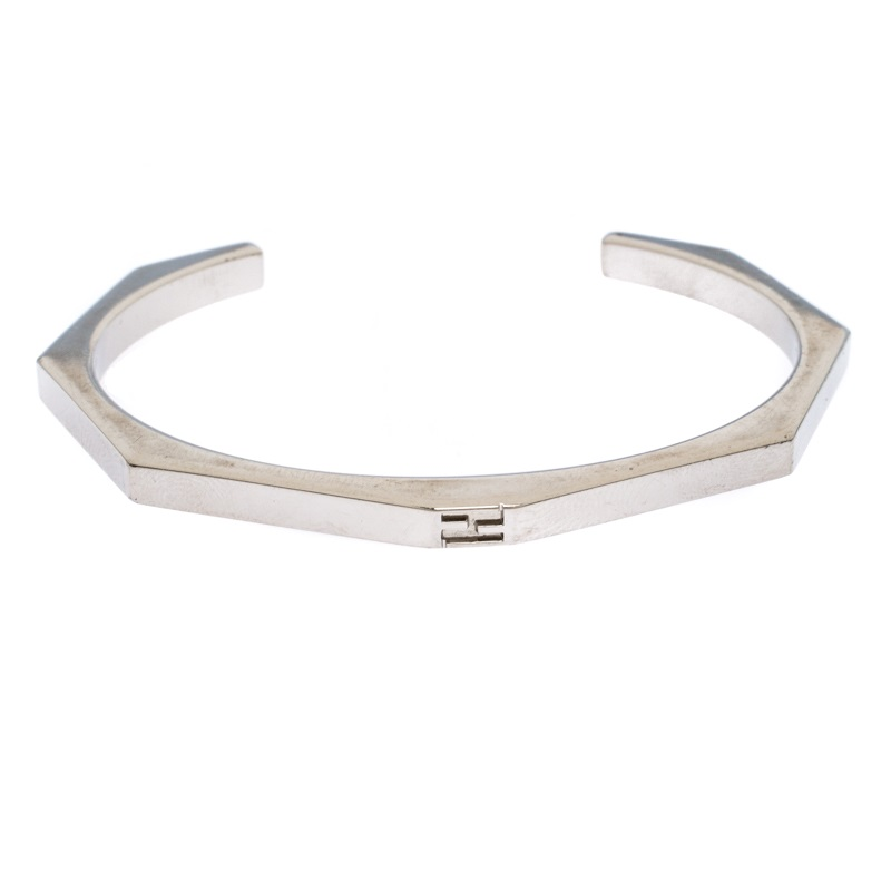 Fendi Baguette Silver Tone Open Cuff Bracelet