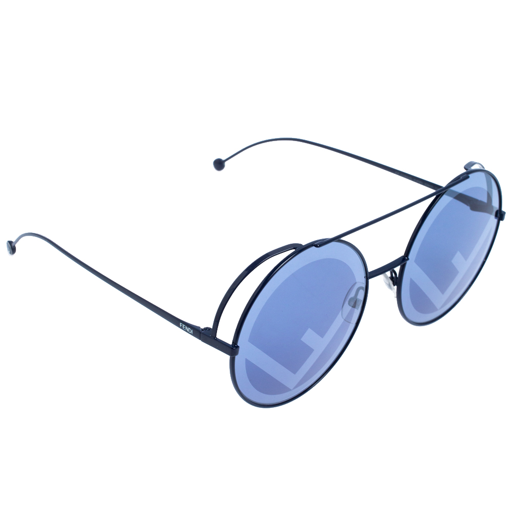 Fendi Blue Tone Cliché Print 0285/S Run Away Round Sunglasses