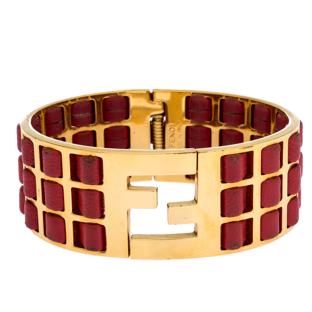 Fendi Fendista Red Woven Leather Gold Tone Wide Cuff Bracelet