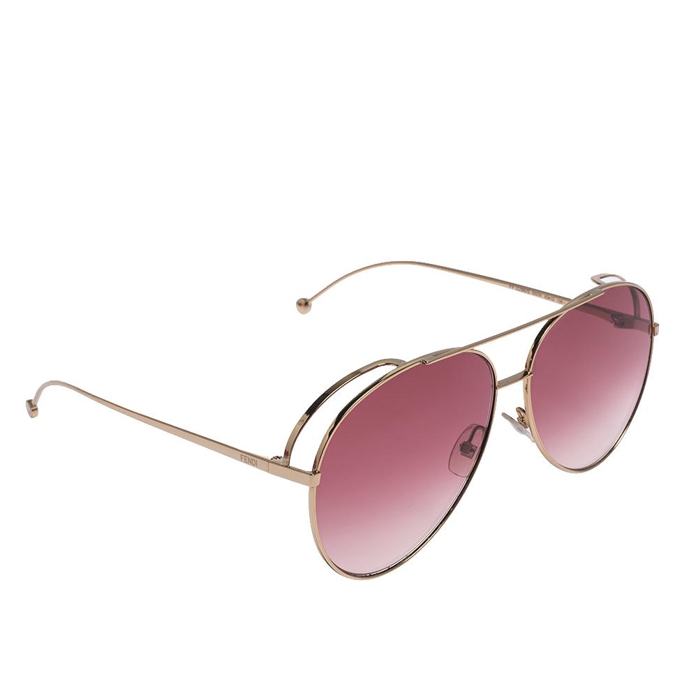 Fendi Rose Gold / Pink Gradient FF0286/S Aviator Sunglasses