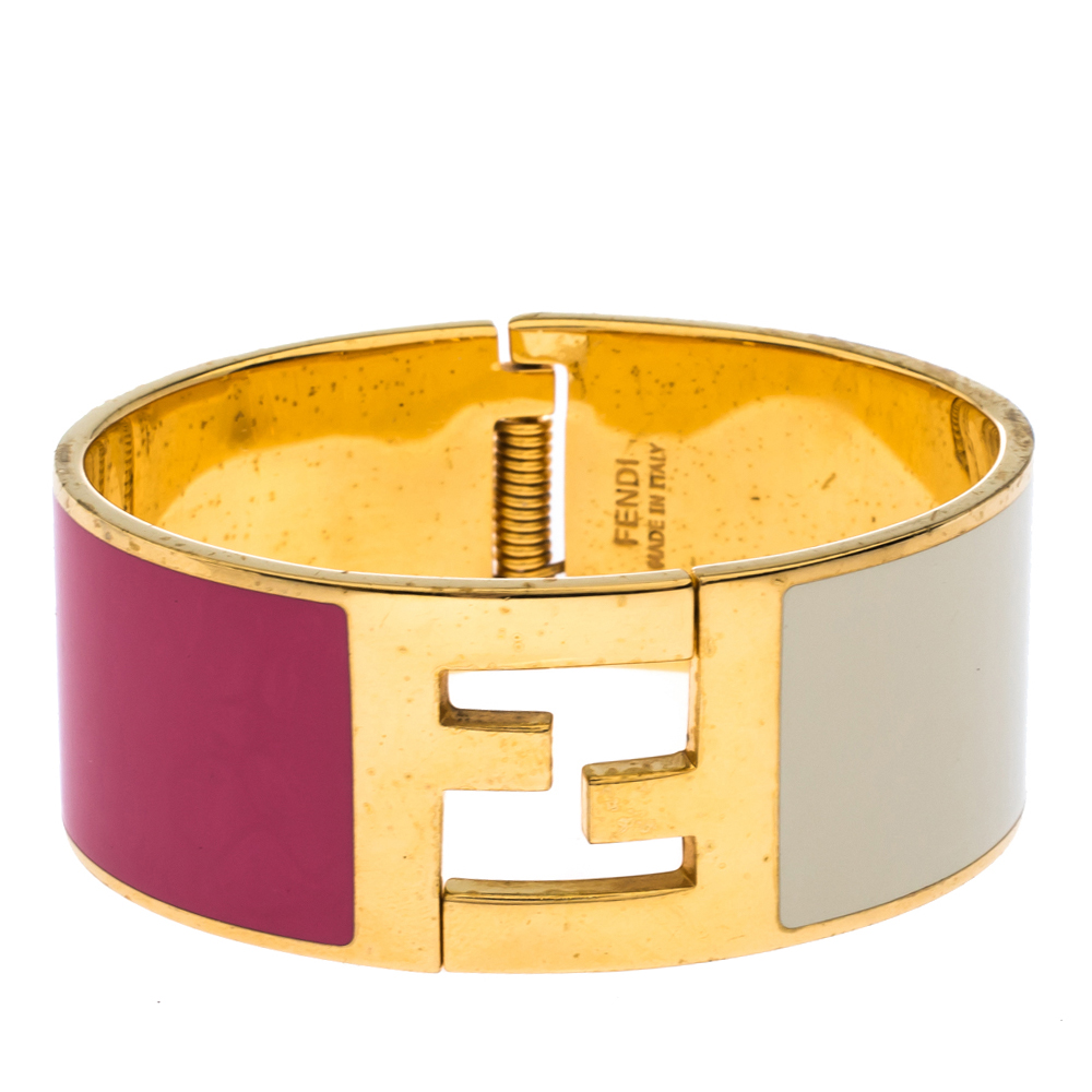 Fendi Fendista Bi-color Enamel Gold Tone Wide Bracelet S