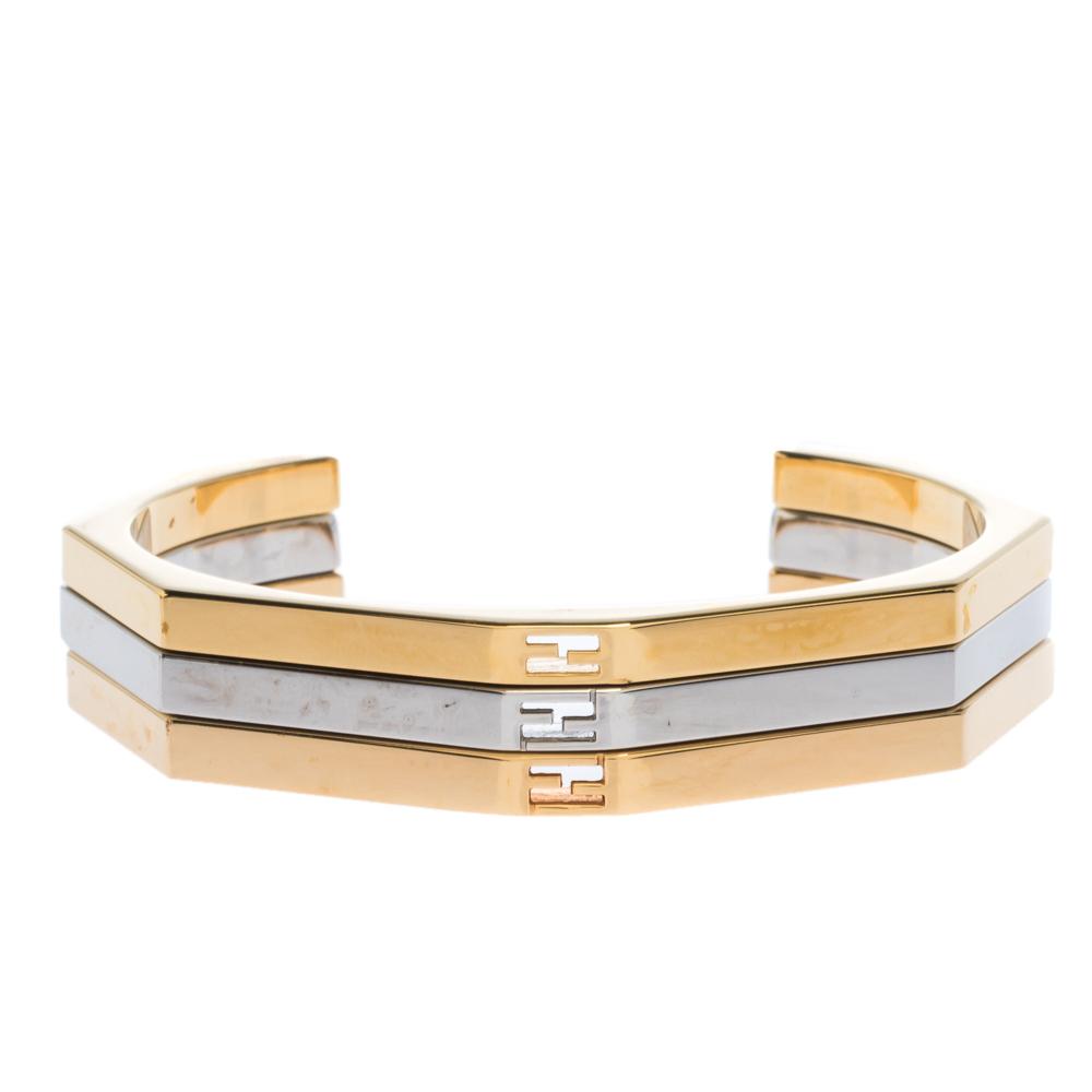 Fendi Baguette Bi-color Set of 3 Open Cuff Bracelet S
