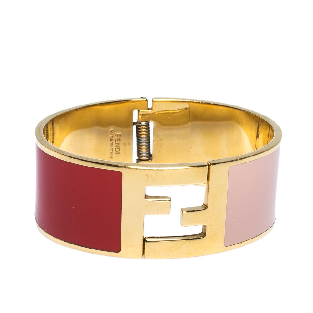 Fendi Fendista Bi-Color Enamel Gold Tone Wide Bracelet M