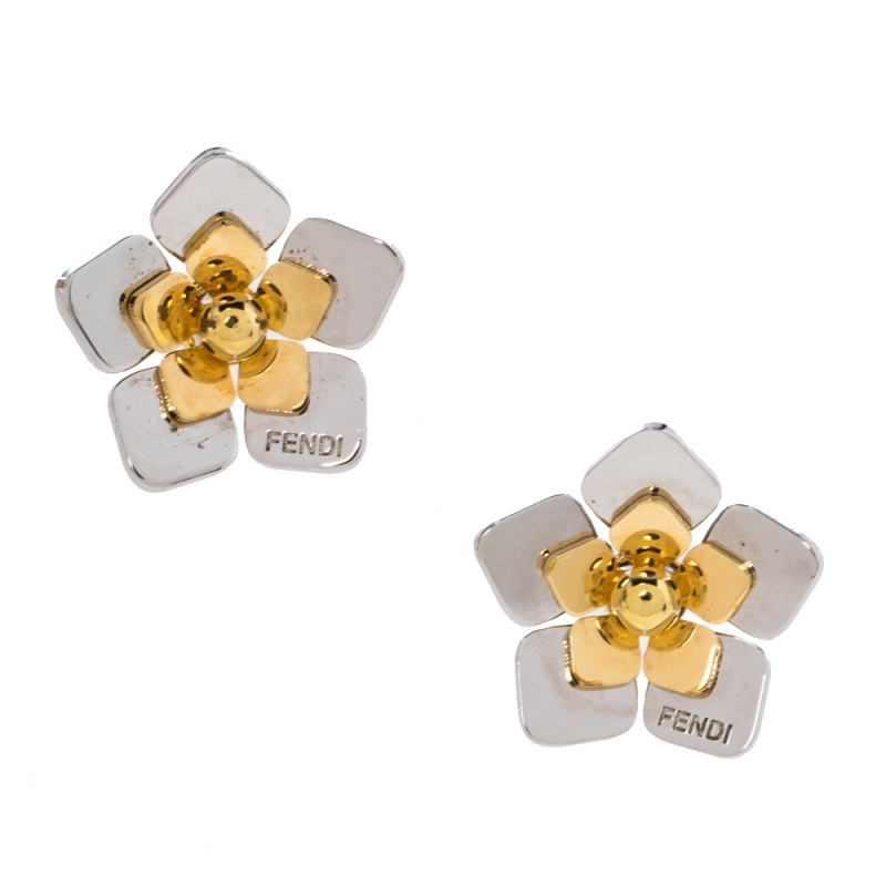 Pre-owned Fendi Two Tone Blossom Stud Earrings In Gold