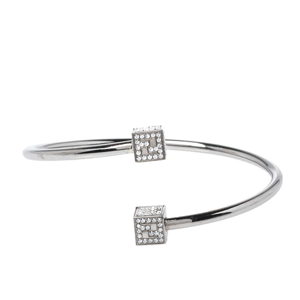 Fendi Crystal FF Cube Silver Tone Open Cuff Bracelet