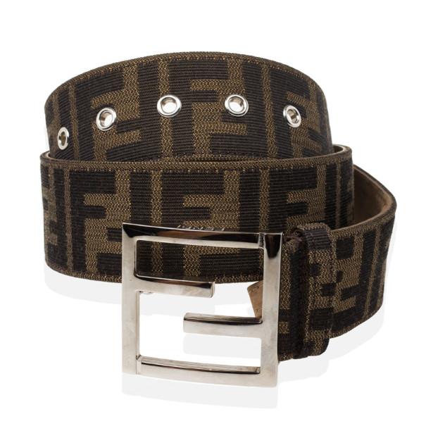 Fendi Brown Zucca Canvas FF Unisex Buckle Belt 73 CM