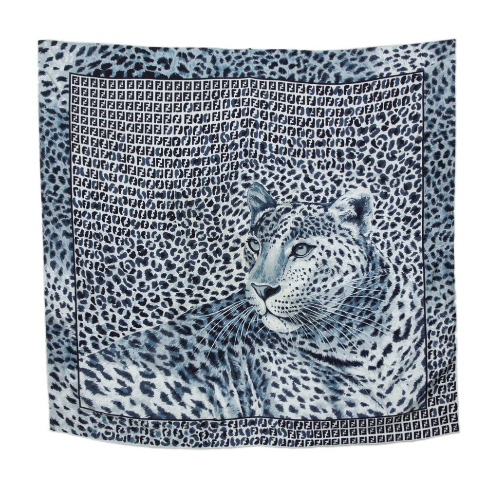 Pre-owned Fendi Blue Leopard Print Silk Scarf