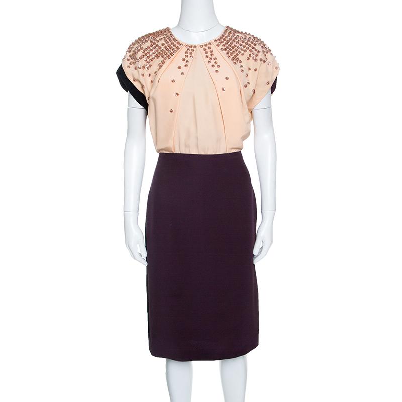 b8653aeb0c0d ... Fendi Colorblock Embellished Bodice Midi Dress M. nextprev. prevnext