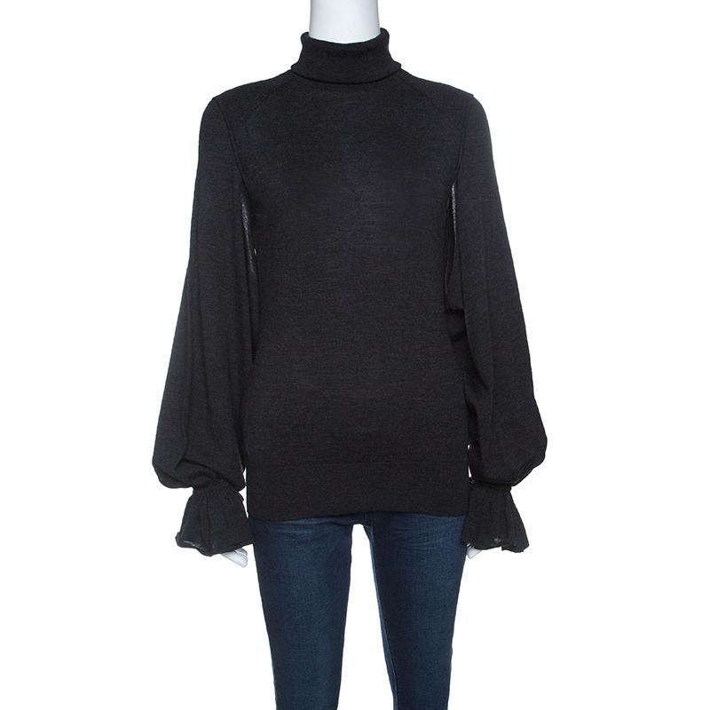 c9d0c4646277ac Buy Fendi Grey Wool Armhole Cutout Detail Ruffled Cuff Sweater M ...