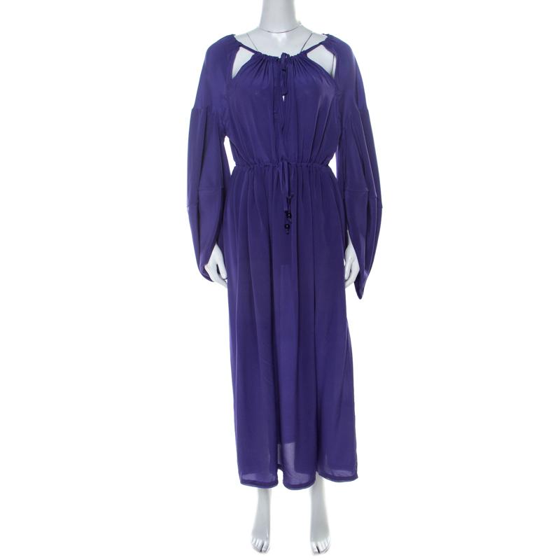 Fendi Violet Crepe Silk Cut Out Detail Raglan Sleeve Midi Dress M