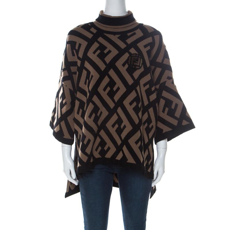 Fendi Brown & Black Logo Print Wool Blend Turtle Neck Sweater S