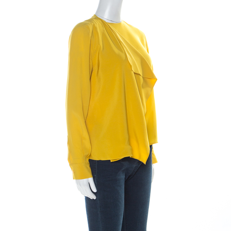 Fendi Yellow Silk Buttoned Shoulder Asymmetrical Waterfall Front Detail Blouse