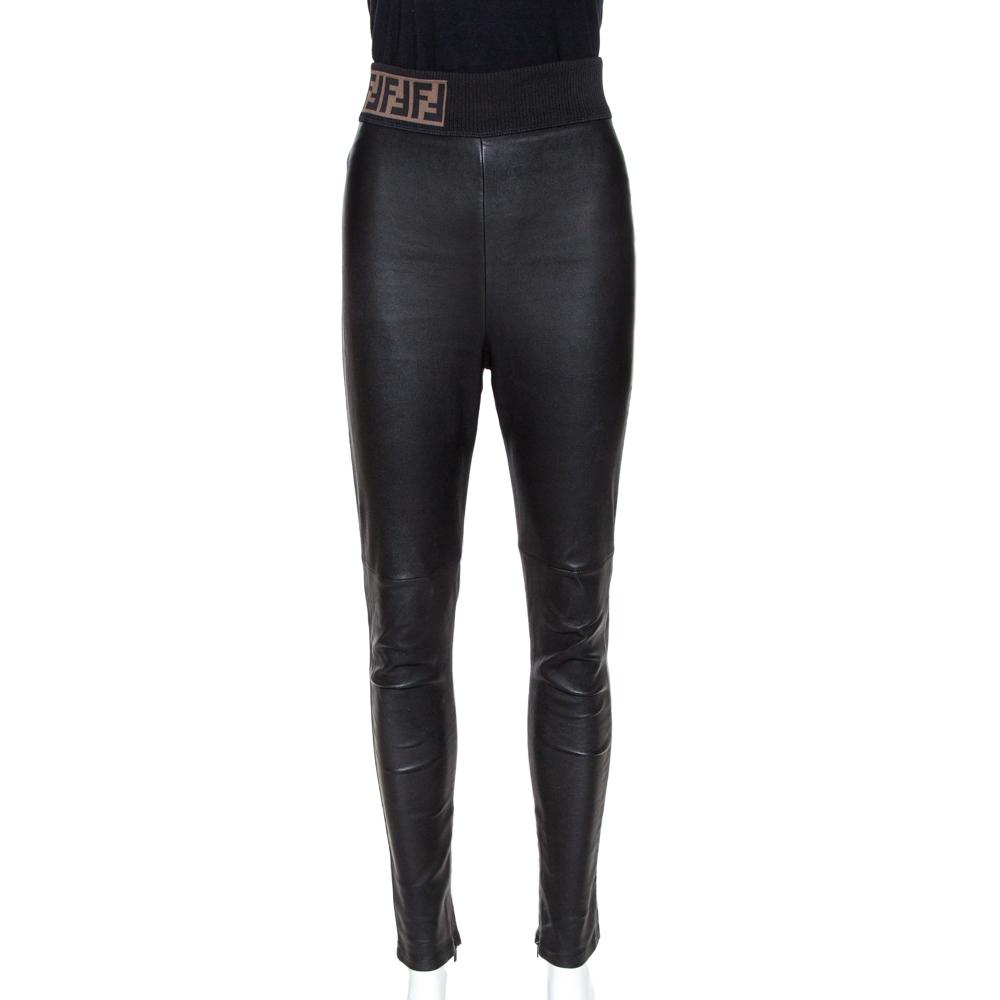 Fendi Black Leather Skinny Biker Leggings M