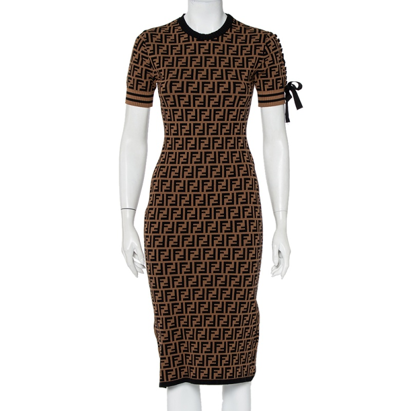 Pre-owned Fendi Brown Zucca Monogram Knit Short Sleeve Sheath Dress S