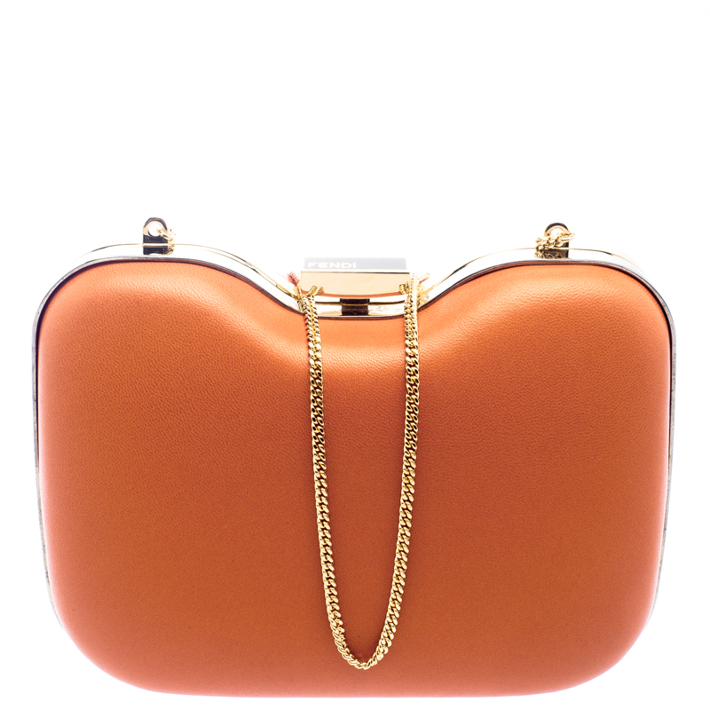111ef2db5d1 Buy Fendi Red/Orange Patent Leather Giano Box Clutch 101232 at best ...