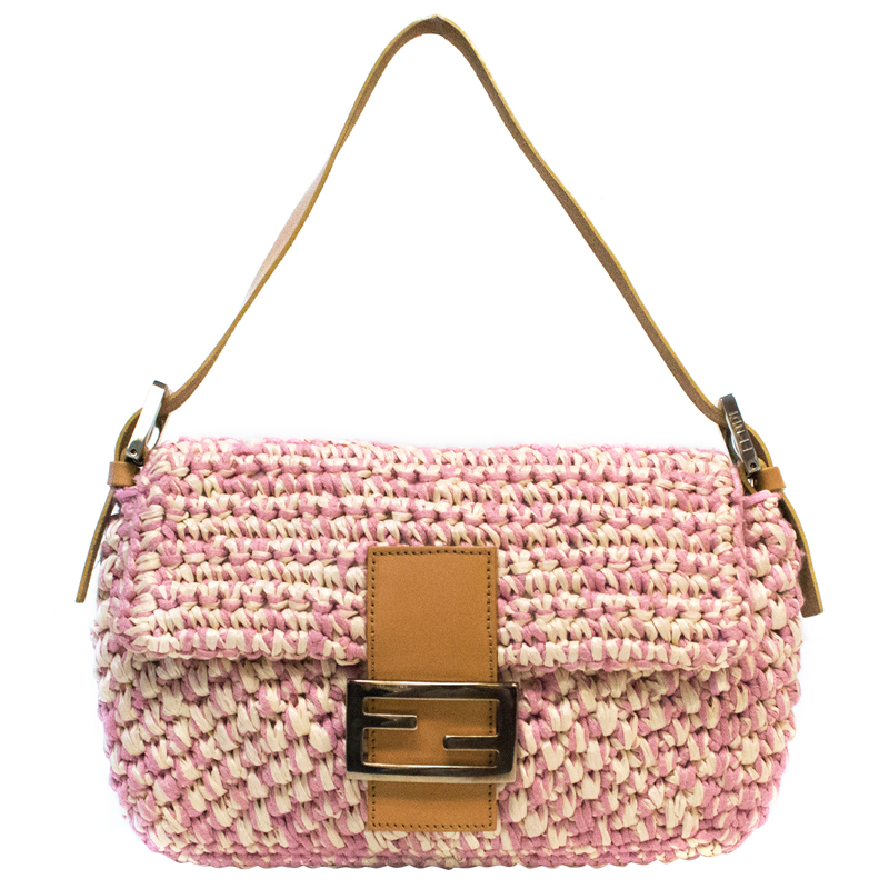 b995ce4a9442 Buy Fendi Pink Woven Straw Textile Baguette Bag 103234 at best price ...