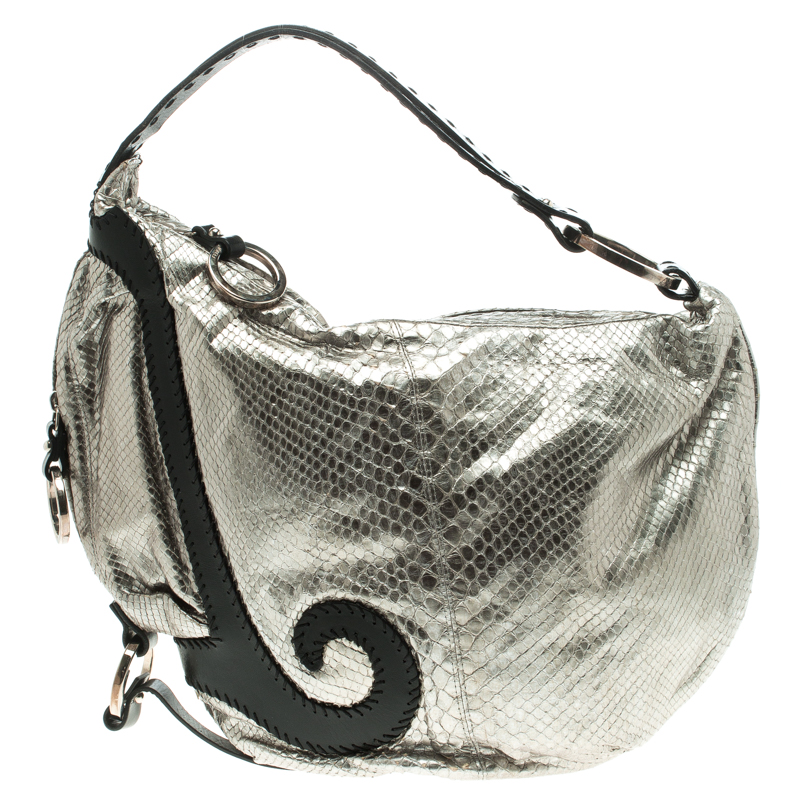cd2a203e7d28 Buy Fendi Silver Python Oyster Hobo 103904 at best price