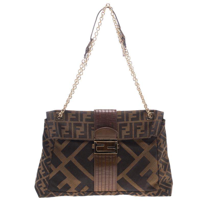 939c29902e3a Buy Fendi Tobacco Zucca Canvas Maxi Baguette Shoulder Bag 105164 at ...