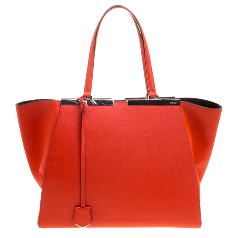 008026718a Buy Fendi Orange Leather Large 3Jours Tote 114557 at best price