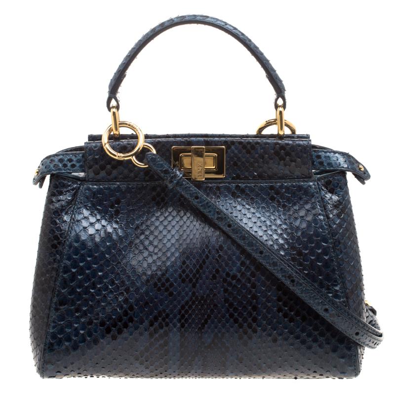 f356a1b07c Buy Fendi Navy Blue Python Mini Peekaboo Top Handle Bag 115455 at ...