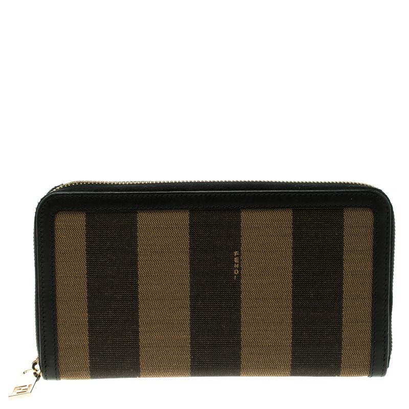 Fendi Black/Tobacco Pequin Canvas Zip Around Wallet