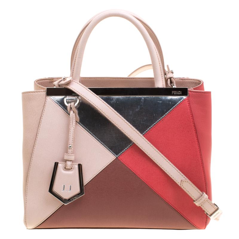 Fendi Multicolor Leather Small Geometric 2jours Tote