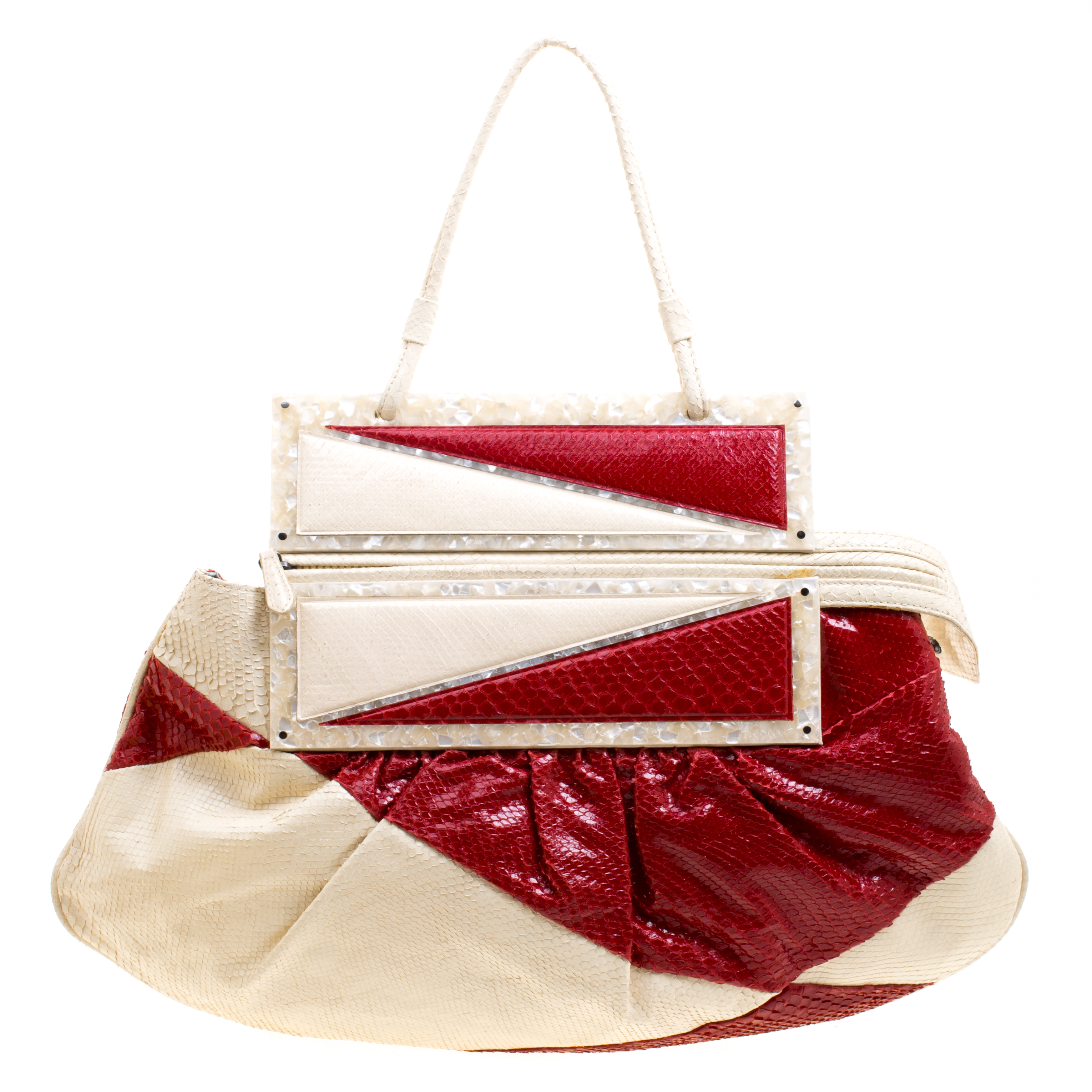 34380198d15c Buy Fendi Off White Red Python To You Convertible Clutch Bag 118269 ...