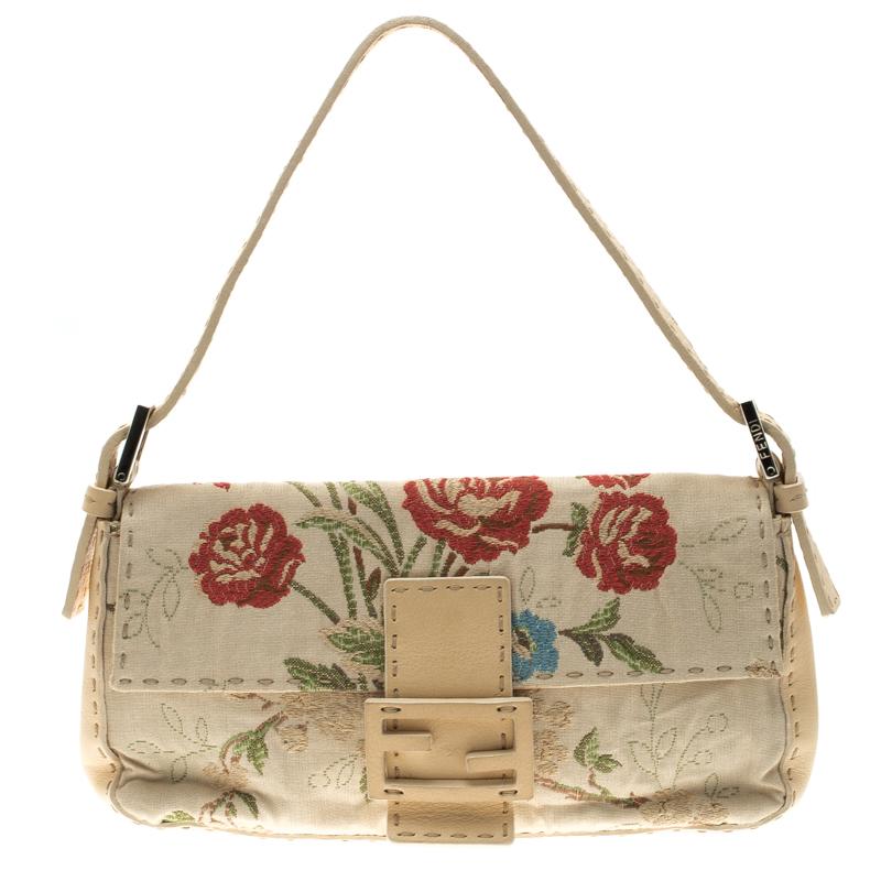 2de912cea3 Buy Fendi Beige Floral Embroidered Fabric Mama Baguette Shoulder Bag ...